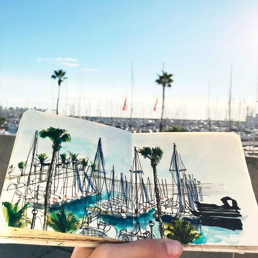Showcase: Custom watercolor drawing of Port Olímpic Barcelona