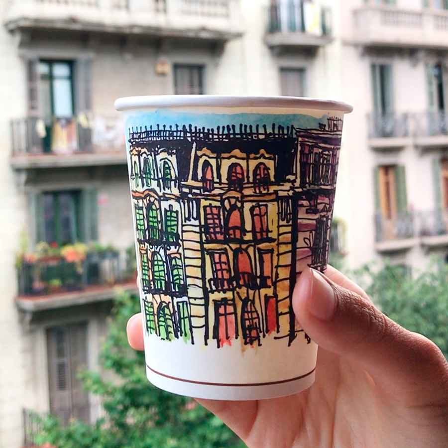 Showcase: Custom watercolor sketch on a recyclable cup