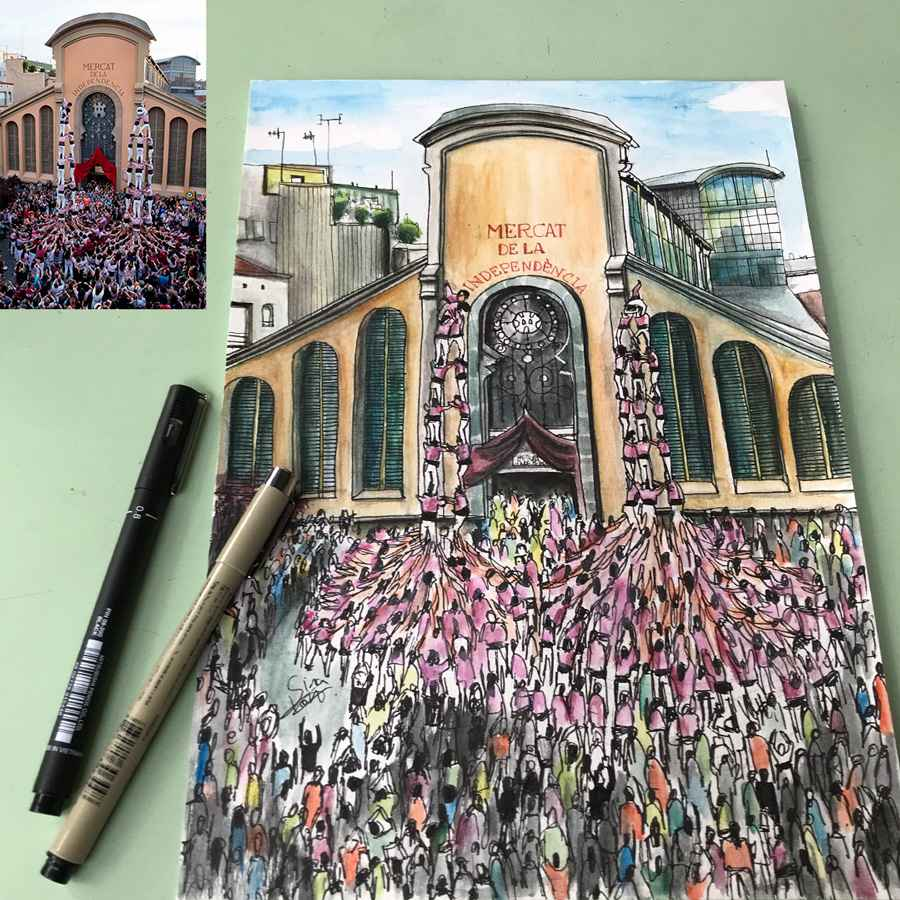 Showcase: Custom watercolor and rotring sketch of Terrassa