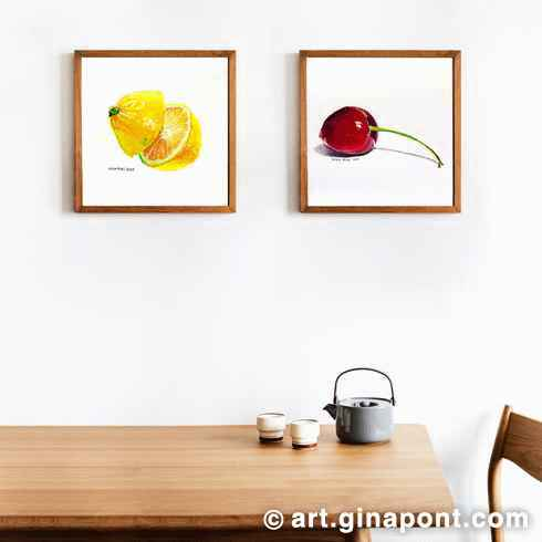 Claudia asked me to help her decorate her kitchen. The result: a series of drawings of fruits such as lemon and cherry.