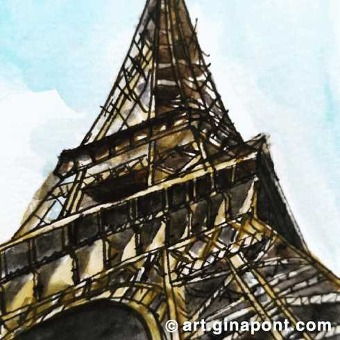 Eiffel Tower: Watercolor and rotring print for sale.