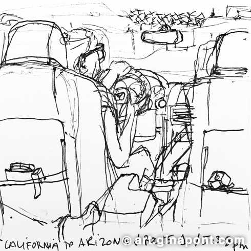 Road Trip: Lake Havasu City, from California to Arizona, pen sketch for sale.