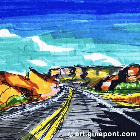 Road Trip: Buckskin Mountains', from Arizona to Utah, markers and rotring sketch for sale.