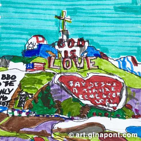 Salvation Mountain: markers and rotring sketch.