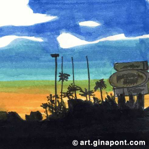 Marker sketch of the sunset in Lake Havasu City, Arizona