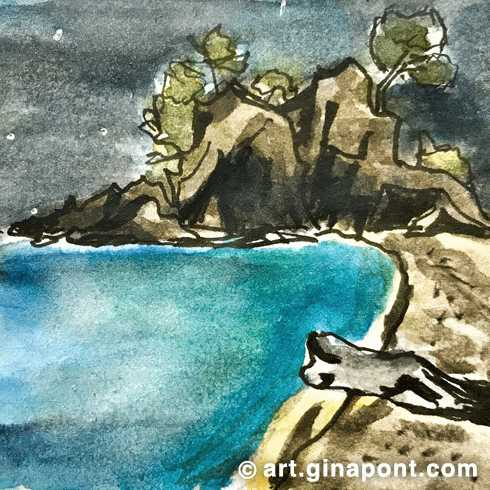 Cala Cap Roig: Watercolor and rotring artwork for sale.