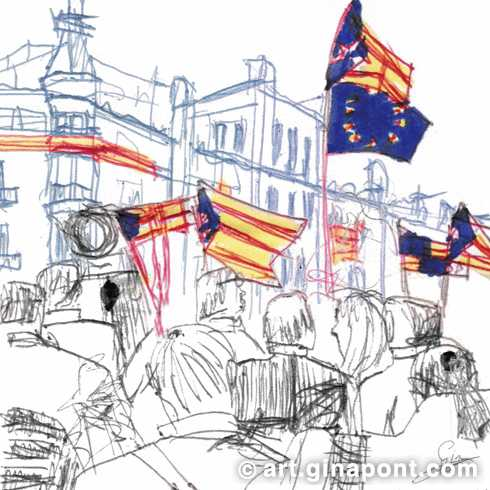 Barcelona demonstration: Pen and markers urban sketch for sale.