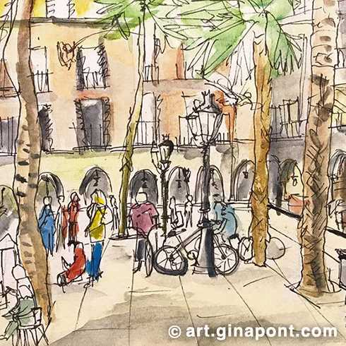 USK Event with Urban Sketchers and Setba Foundation: Watercolor and rotring sketch of Plaça Reial, 2016.