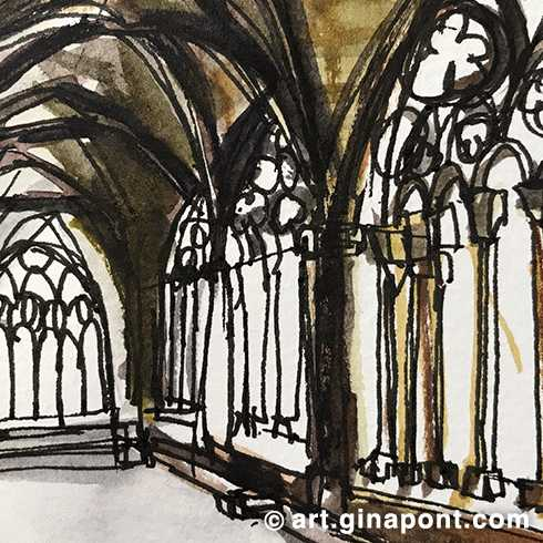 The cloister of Seu Vella, Lleida: Watercolor and rotring sketch.