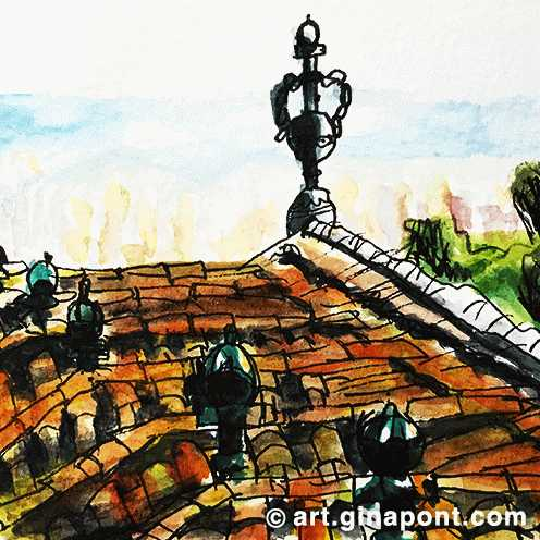 Rooftop sketch of Font del Gat restaurant in Barcelona.