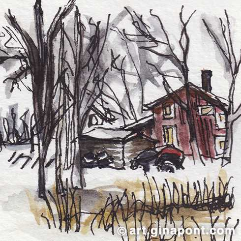Watercolor sketch of the refuge I slep in Abisko, Sweden.