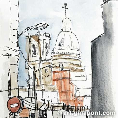 Watercolor drawing of the church Sant Andreu del Palomar, Barcelona.