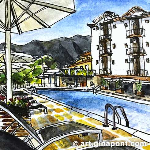 A watercolor sketch I drew during my stay in Terradets Hotel, Lleida.
