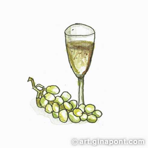 Christmas watercolor drawing: Grapes and Champagne