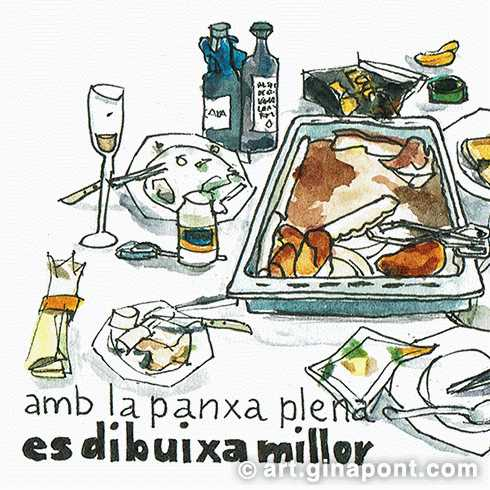 Drawing of the leftover food after a dinner: Wine cups and bottles, potatoes, chicken and the cutlery.