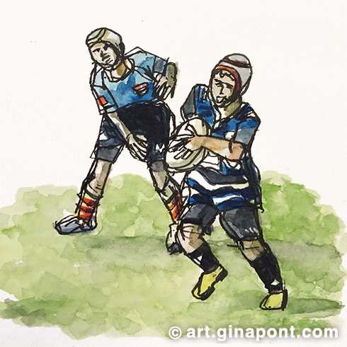 A watercolor sketch drawn during a junior rugby match.