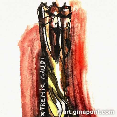 A sketch of the Premis Gaudí trophy, the celebration of Film Awards of Catalonia.