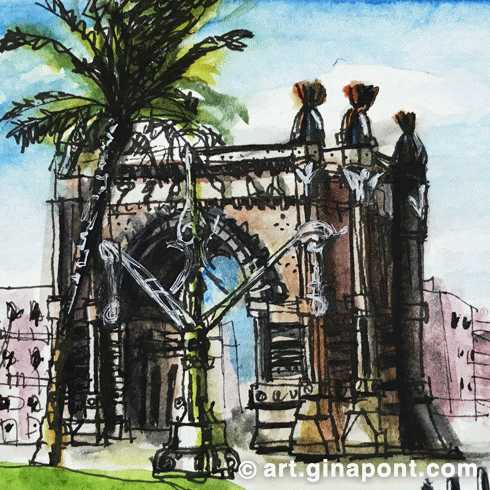 Watercolor drawing of Arc de Triomf, Barcelona. It was the main access gate for the 1888 Barcelona World Fair.