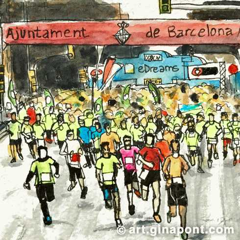 Watercolor urban sketch of Barcelona Half Marathon. Athletes reaching the finish line.