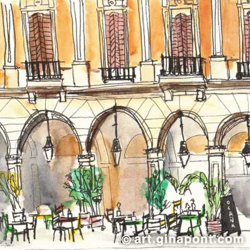 USK Event with Urban Sketchers and Setba Foundation: Watercolor and rotring sketch of Plaça Reial, 2017.