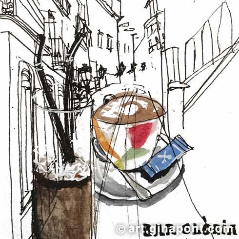 Urban sketch of Comtes Street and the coffee we drank at Bar Gloria. We spent the morning drawing in the Barcelona downtown.