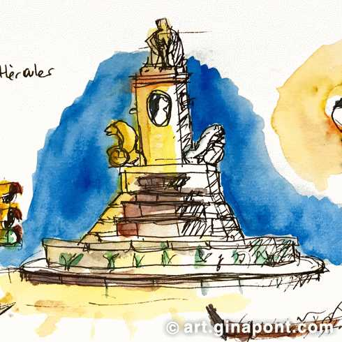 Watercolor urban sketch of Hercules Fountain at night, Passeig de Sant Joan, Barcelona.