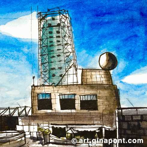 Watercolor sketch of Hotel Arts facade, Port Olímpic, Barcelona.