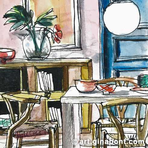 Watercolor and rotring sketch of a dining room in Barcelona. The decoration is highlighted: chairs, table, frames, flowers, shelves and lamp.