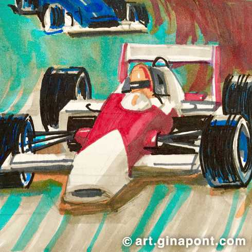 Markers illustration of Formula 1 race.