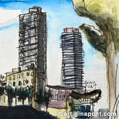 Watercolor sketch of Torre Mapfre and Hotel Arts facade, Port Olímpic, Barcelona.