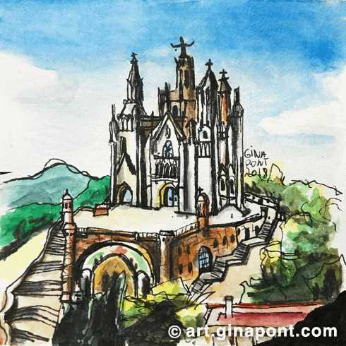 Watercolor and rotring microsketch of Sagrat Cor church, Tibidabo, Barcelona.