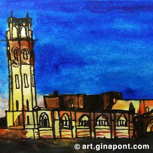 Watercolor and rotring microsketch of Seu Vella at night, Lleida.