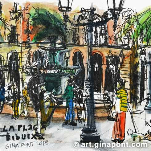 USK Event with Urban Sketchers and Setba Foundation: Watercolor and rotring sketch of Plaça Reial, 2018.