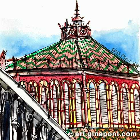 A watercolor sketch drawn the reopening of Sant Antoni Market, Barcelona