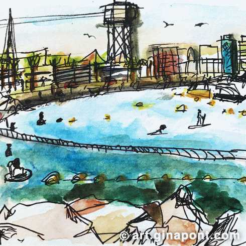 A watercolor quick sketch of the Barceloneta beach landscape, Barcelona: there are swimmers, paddle surfers and boats.