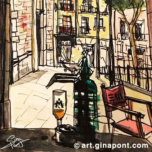 I drew this sketch during La Festa Major del Raval, this is the view from the Espai Mallorca local in Barcelona.