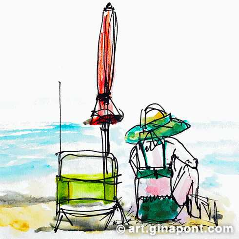 Summertime on the beach: watercolor's drawing of a woman sitting on the beach with her umbrella, looking out at the sea in Llafranc, Girona.