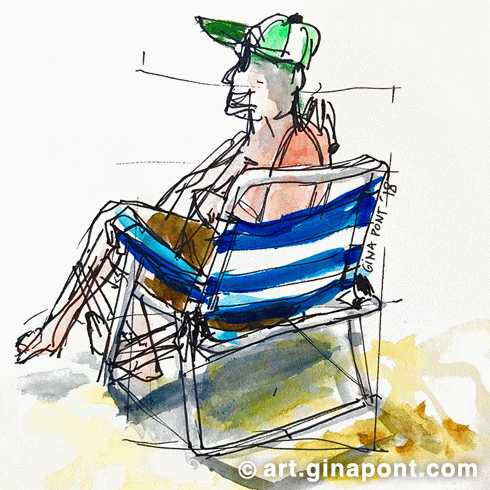 Summertime on the beach: watercolor's drawing of a man sitting on a beach chair, looking out at the sea in Llafranc, Girona.