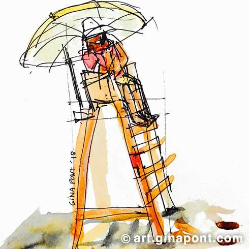 Summertime on the beach: watercolor's drawing of a lifeguard on the beach, guarding the sea in Llafranc, Girona.