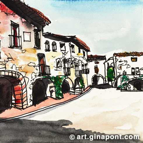 Watercolor and rotring microsketch of the main square of Monells, a medieval village in Girona.