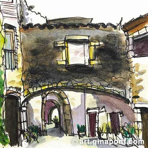 Watercolor and rotring microsketch of a narrow medieval street of Monells, Girona.