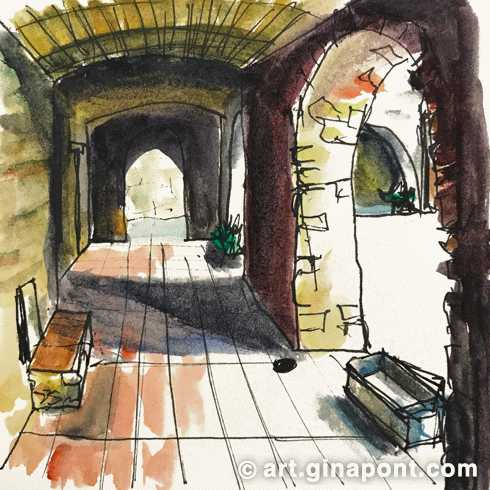 Watercolor and rotring microsketch of gothic arcades in the medieval street of Monells, Girona.