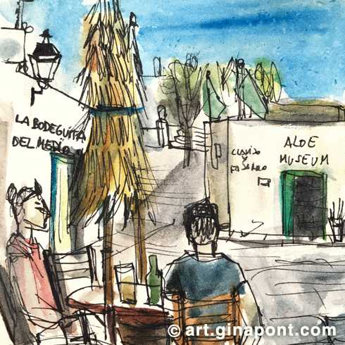 Watercolor and rotring drawing of La Bodeguita del Medio, a restaurant I ate during my stay in Lanzarote, Canary Islands.