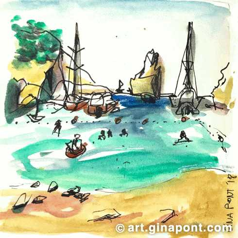Watercolor sketch of Benirrás Beach, Ibiza.