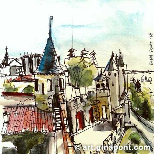 An urban sketch I drew during my visit to Carcassonne castle, a French fortified city, France.
