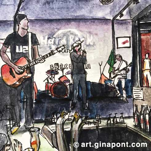 Watercolor drawing of Please 100% U2 live performance, Hard Rock Cafe Barcelona