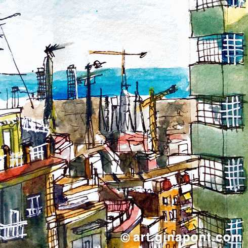 Watercolor urban sketch of Barcelona landscape (Sagrada Familia, Mapfre Tower, Arts Hotel) from El Carmel, Barcelona.