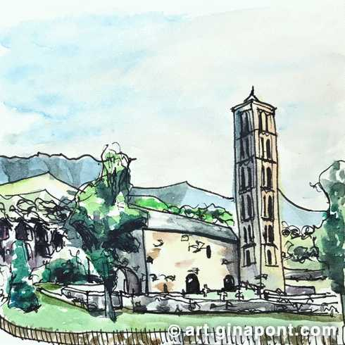 Watercolor, rotring and pentel sketch of the facade of the Roman Catholic church Sant Climent de Taüll in the morning, Lleida.