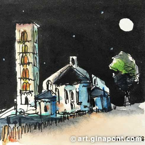 Watercolor, rotring and pentel sketch of the facade of the Roman Catholic church Sant Climent de Taüll at night, Lleida.