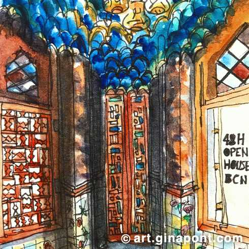 Watercolor and rotring sketch of the interior of Casa Vicens. It is the Gaudí's first house in Barcelona. This sketch was drawn during the 48h Open House BCN event 2018.